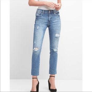 Gap high rise slim straight distressed jeans